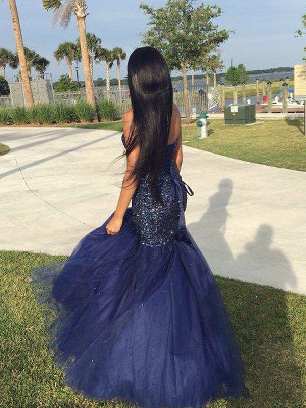 Trumpet/Mermaid Sweetheart Beading Sleeveless Tulle Floor-Length Dresses