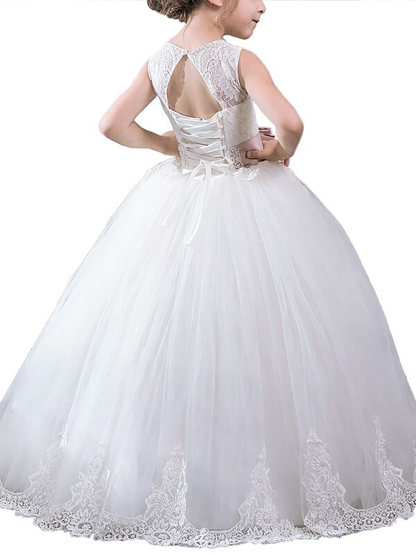 Ball Gown Scoop Sash/Ribbon/Belt Sleeveless Floor-Length Tulle Flower Girl Dresses