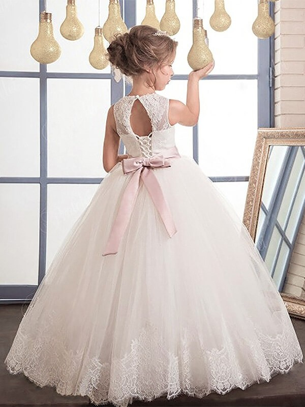 Ball Gown Sleeveless Scoop Sash/Ribbon/Belt Floor-Length Tulle Flower Girl Dresses