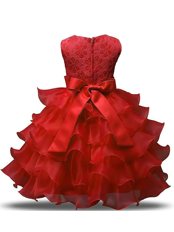 Ball Gown Sleeveless Scoop Tea-length Organza Flower Girl Dress