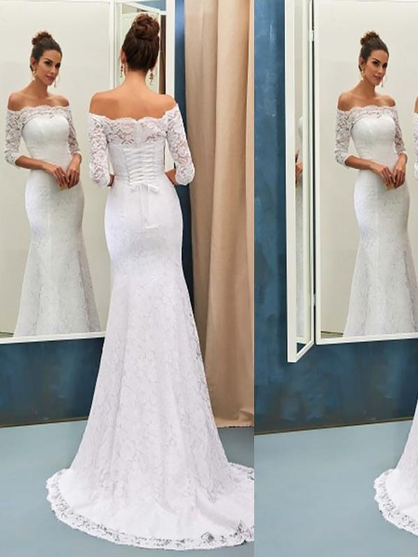 Mermaid Off-the-Shoulder Sweep/Brush Train Lace Long Sleeves Wedding Dresses