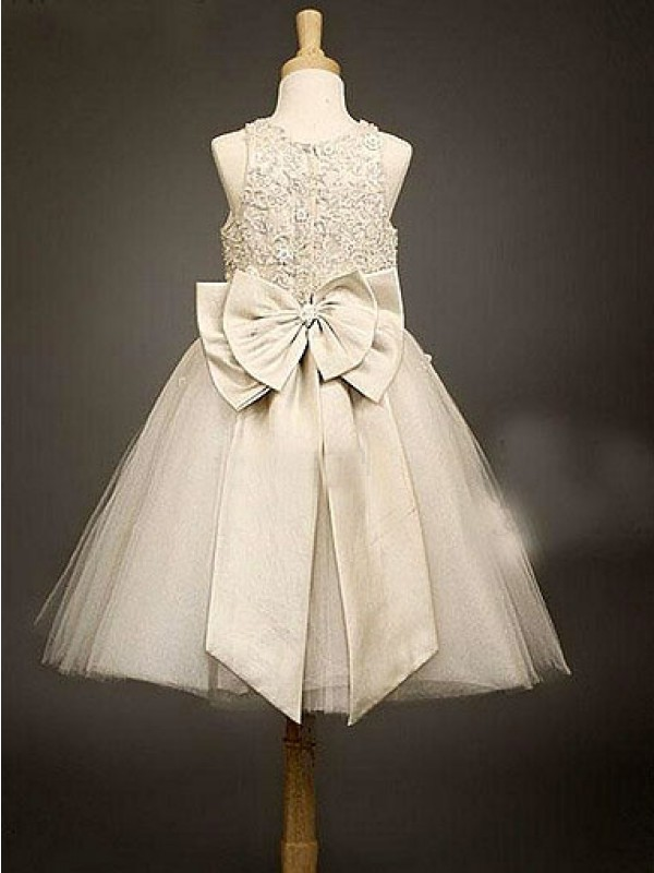 A-line Scoop Sleeveless Bowknot Ankle-length Organza Flower Girl Dress