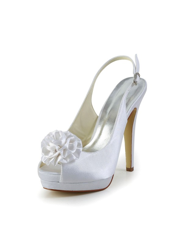 Women's Satin Stiletto Heel Sandals Peep Toe With Flower White Wedding Shoes