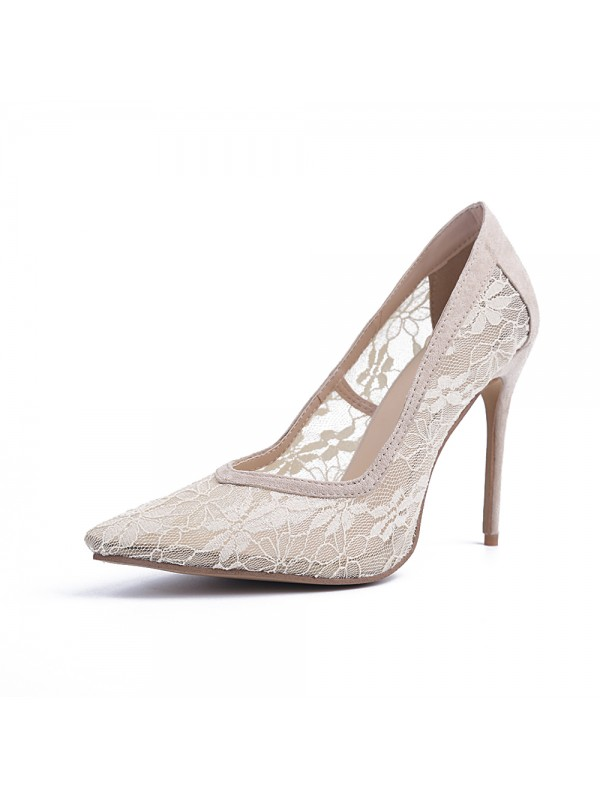 Women's Closed Toe Lace Stiletto Heel High Heels