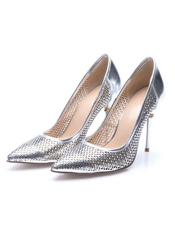 Women's Silver Patent Leather Closed Toe Stiletto Heel High Heels