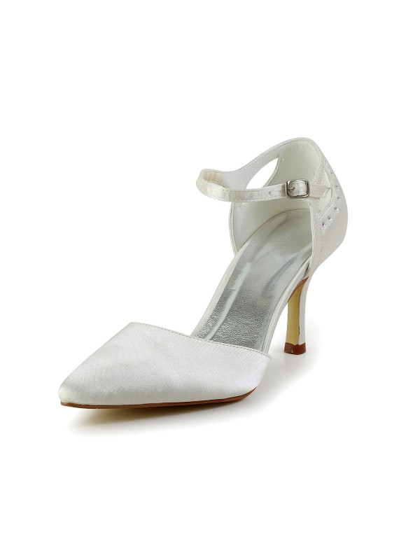 Women's Satin Stiletto Heel Closed Toe Pumps White Wedding Shoes