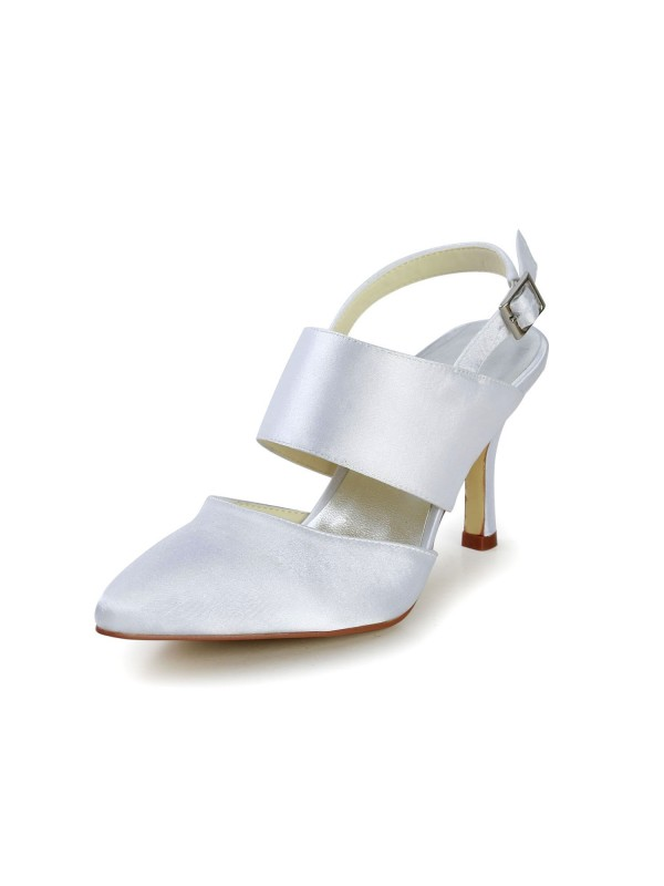 Women's Satin Stiletto Heel Closed Toe With Buckle White Wedding Shoes