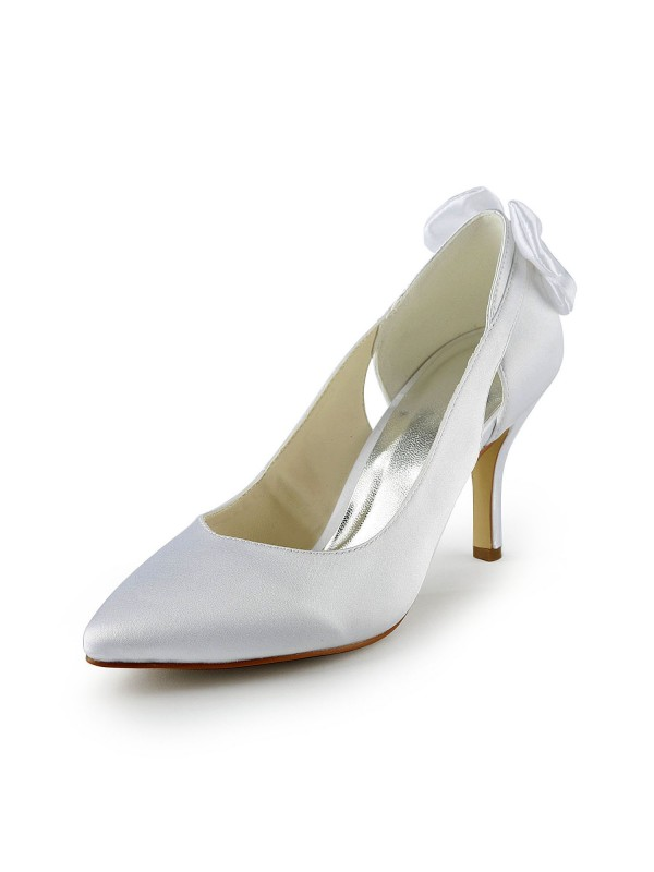 Women's Satin Stiletto Heel Pumps With Hollow-out White Wedding Shoes