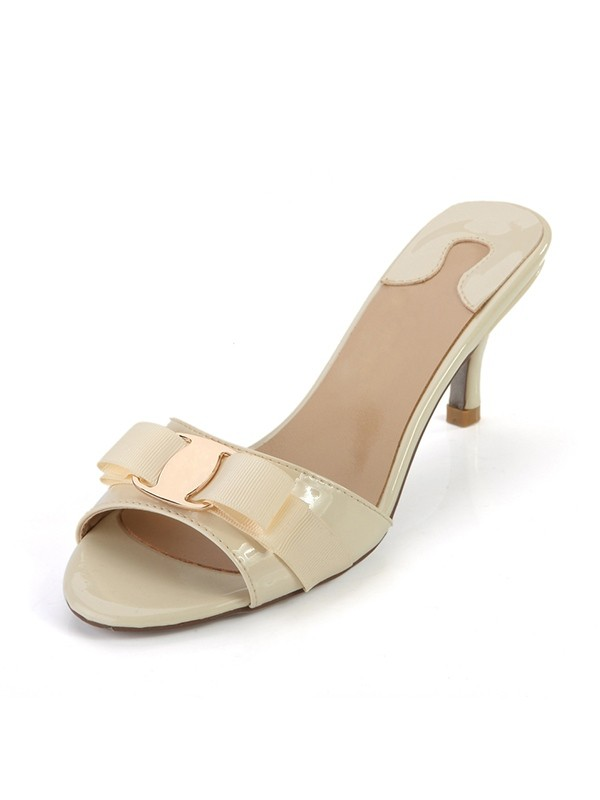 Women's Peep Toe Patent Leather Cone Heel Sandals Shoes