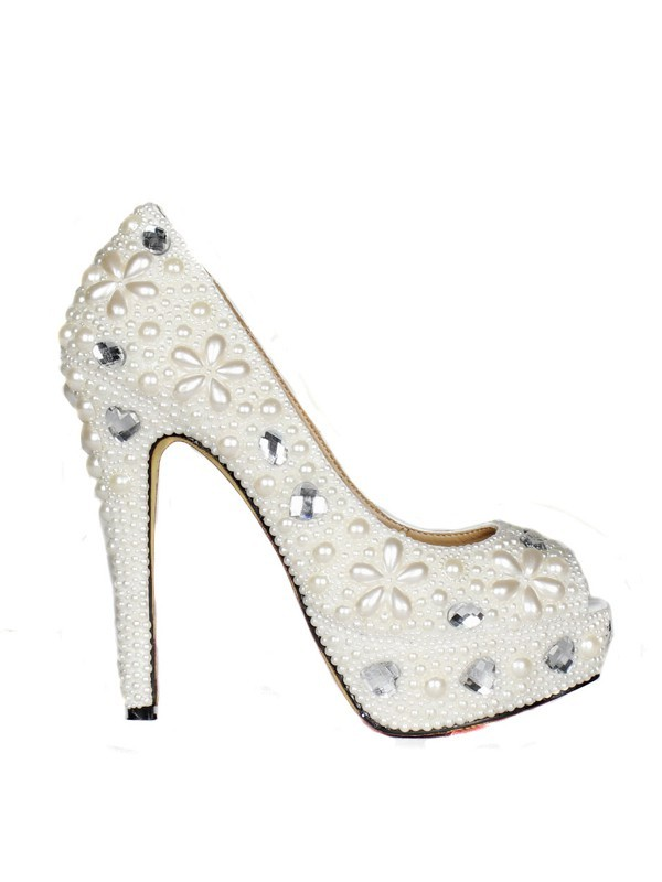 Women's Patent Leather Stiletto Heel Peep Toe Platform With Pearl White Wedding Shoes