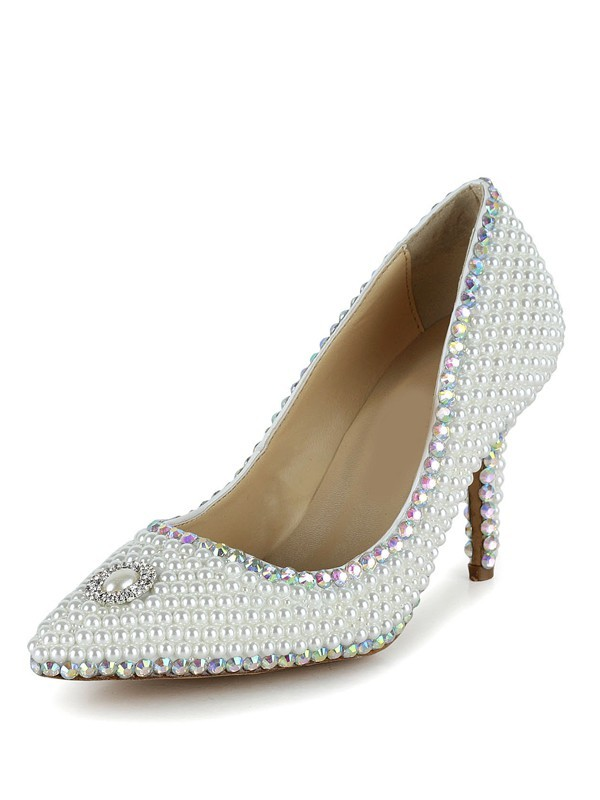 Women's Closed Toe Stiletto Heel Patent Leather With Pearl White Wedding Shoes