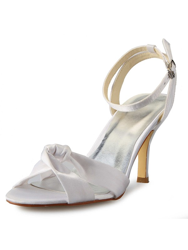 Women's Stiletto Heel Peep Toe Satin With Buckle Mary Jane White Wedding Shoes