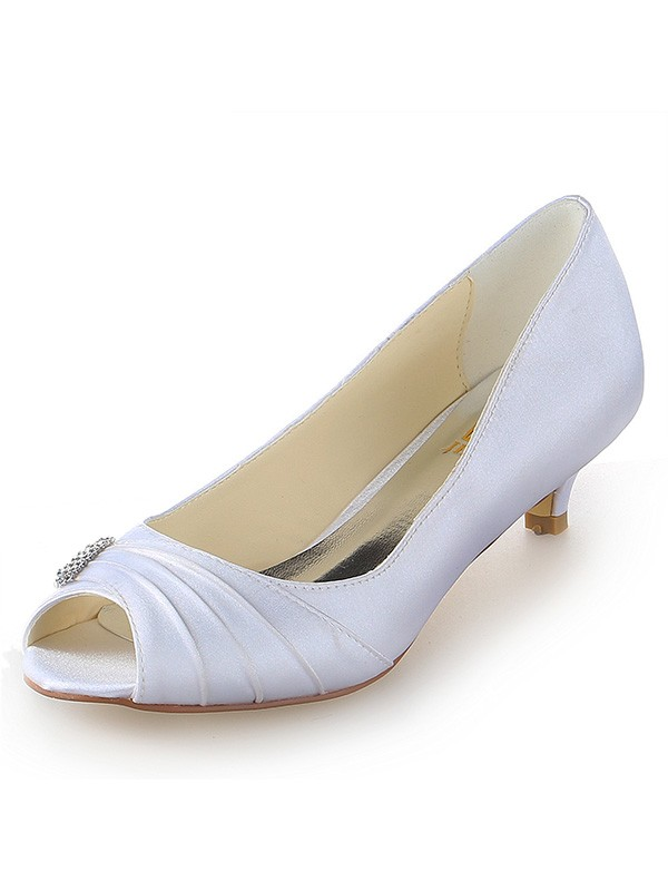 Women's Satin Peep Toe Kitten Heel With Rhinestone White Wedding Shoes