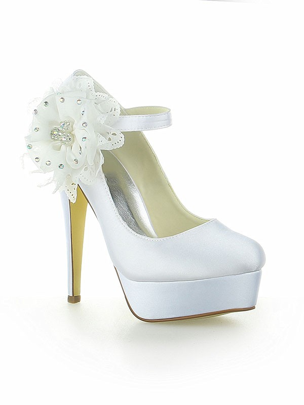 Women's Satin Platform Closed Toe With Flower Stiletto Heel White Wedding Shoes