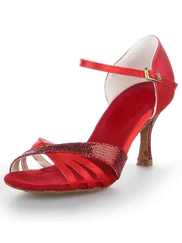 Women's Stiletto Heel Satin Peep Toe Buckle Dance Shoes