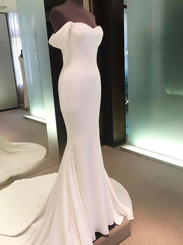 Sheath Off-the-Shoulder Short Sleeves Court Train Spandex Wedding Dress