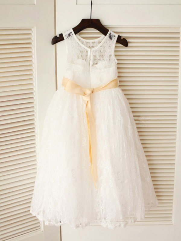 A-line Scoop Ankle-length Lace Flower Girl Dress